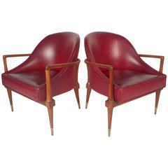 Unique Pair of Mid-Century Modern Walnut Side Chairs