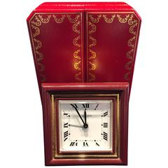 Cartier Classic Burgundy Enamel Clock/Travel Alarm Clock Original Leather Box