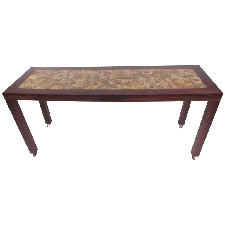 Danish Modern Rosewood Console Table with Tile, Inlay