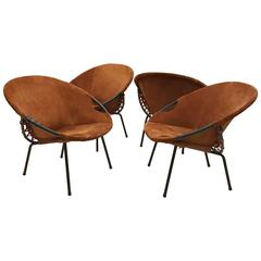 Two Pairs of Suede Mid-Century Barrel Chairs, France, circa 1960