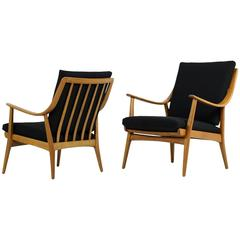 Very Rare Pair of 1950s Mid-Century Modern Beechwood Easy Lounge Chairs