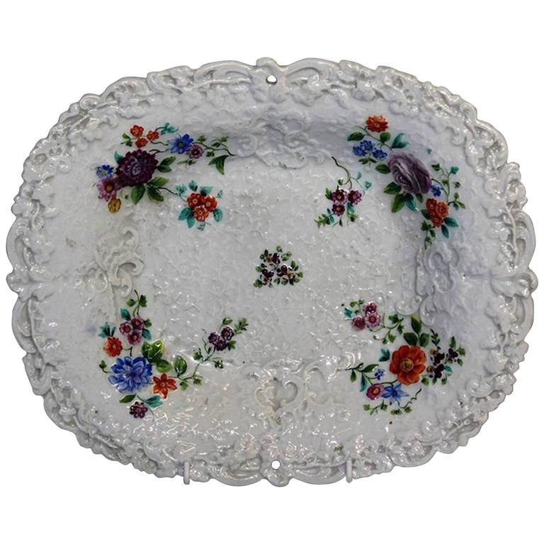 19th Century Meissen Shaped Fruit Dish For Sale
