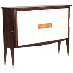 Mid-Century Italian Riopalisander Sideboard with white Front Doors by V. Dassi