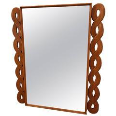 Mid-Century Italian Wall Mirror in Cherry Attributed to Osvaldo Borsani