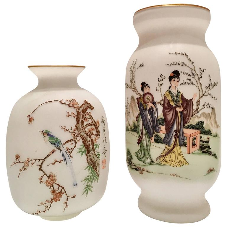 Pair Of Vintage Japanese Hand Painted Satin Glass Vases For Sale At