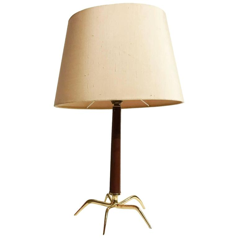 mid century table lamp in stained wood and brass in the style of carlo di carli at 1stdibs. Black Bedroom Furniture Sets. Home Design Ideas