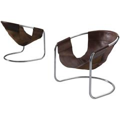 Clemens Claessen Ba-As Leather and Tubular Chairs