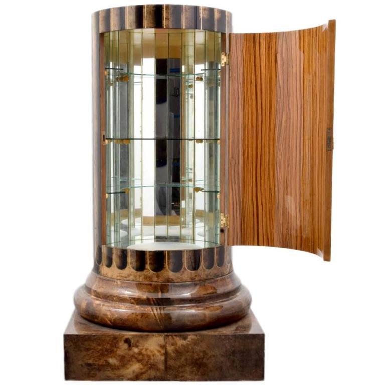 Column Shaped Goatskin Dry Bar, Bar Cabinet by Aldo Tura