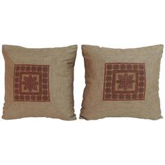 Pair of 19th Century Embroidered Persian Decorative Pillows