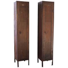 Pair of Vintage Industrial Steel Gym Storage Lockers