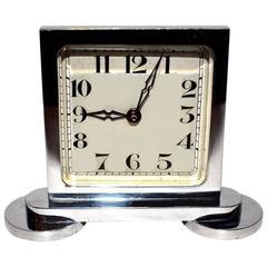 Original 1930s Art Deco Miniature Chrome Clock