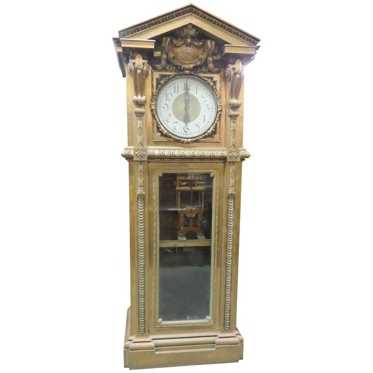 Monumental unique singer sewing co bronze master clock Unique clocks for sale