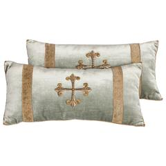 Pair of Antique Embroidery Pillows Pastel Green Colored