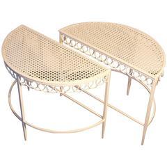 Pair of Demilune Tables by Matégot, France