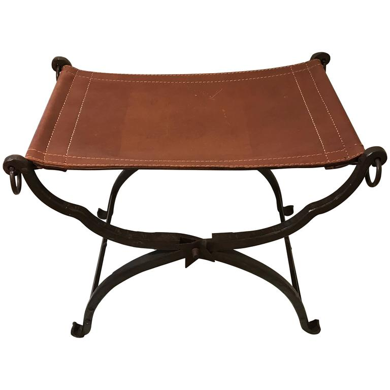 Iron and Leather Curule Bench