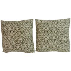 Pair of William Morris' Style Small Print Cotton Vintage Decorative Pillows