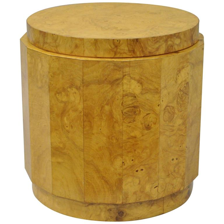 Vintage Edward Wormley for Dunbar Burl Wood Pedestal Accent Drum Table 6302F For Sale
