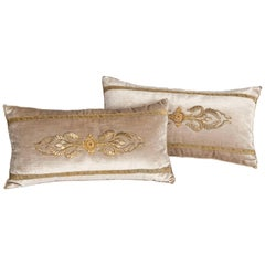 Pair of Champagne-Beige Colored Velvet Pillows with Antique Metallic Embroidery