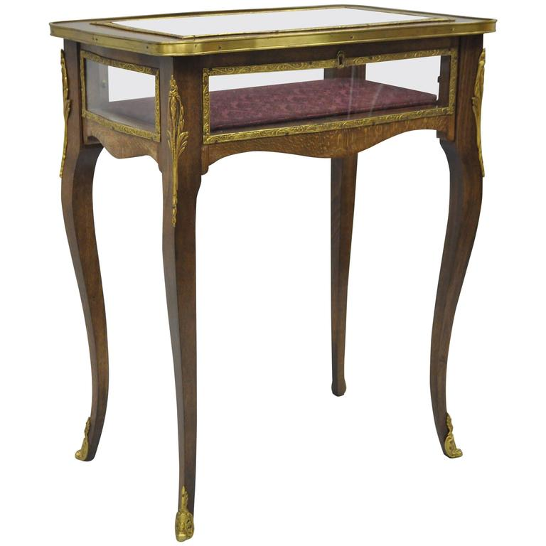 Vintage French Louis XV Style Brass and Glass Flip Top Display Accent Side Table For Sale