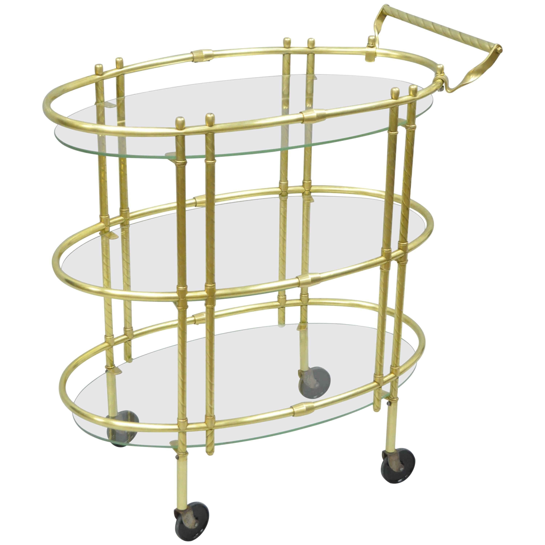 Mid Century Italian Modern Polished Brass & Glass Three Tier Oval Bar Tea Cart