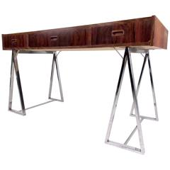 Danish Modern Rosewood and Chrome Campaign Desk
