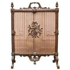 French Louis XVI Style Bronze Firescreen with Lyre Design