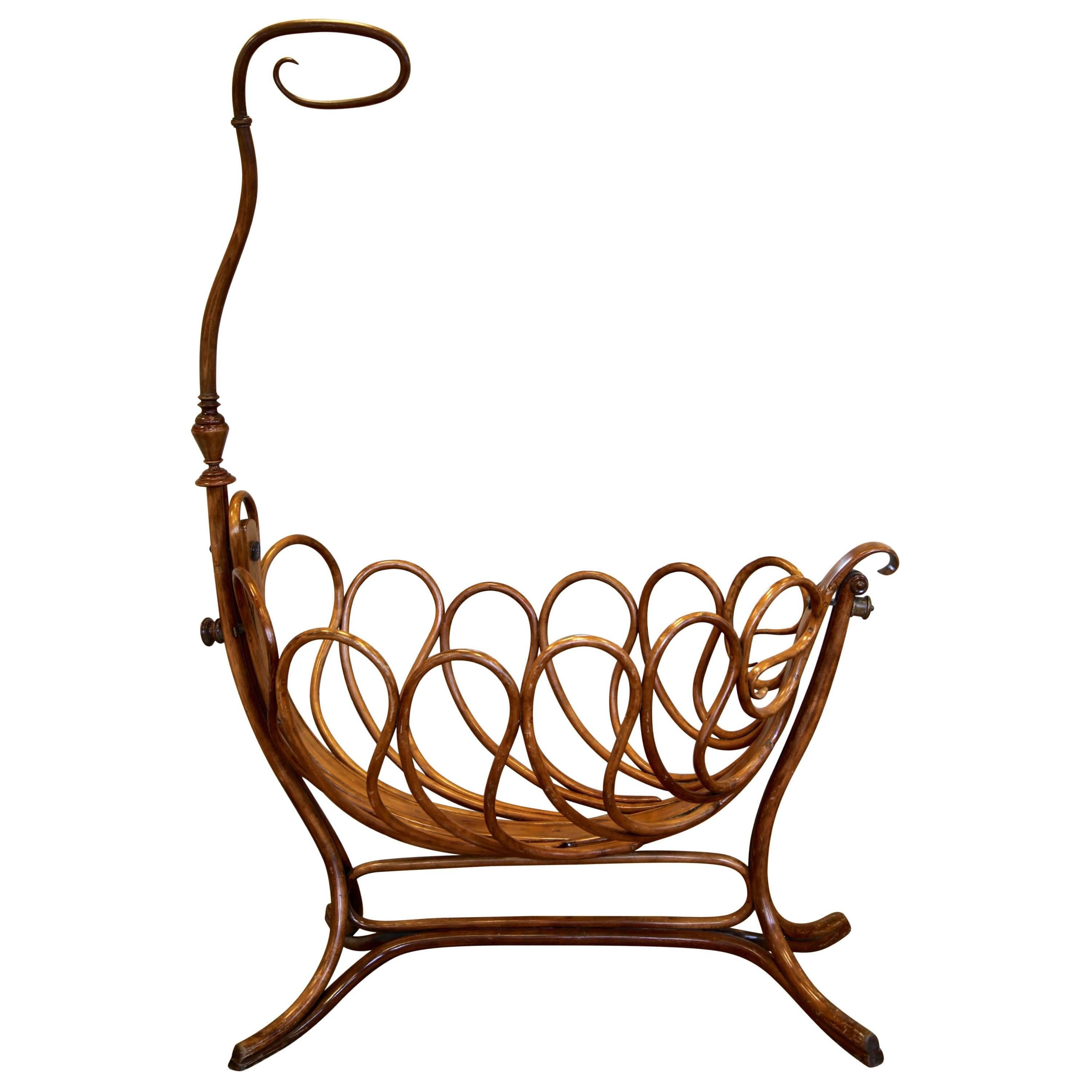 Rare French Bentwood Cradle in the Thonet Style Late 19th Century