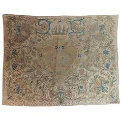 17th Century English Embroidery Needlework Tapestry Panel
