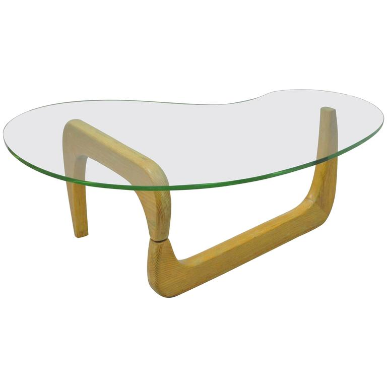 1950s Cerused Oak & Glass Kidney Shape Biomorphic Coffee Table, Noguchi Style