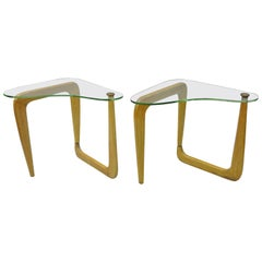 Pair Mid Century Cerused Oak Kidney Shape Biomorphic Side Tables Noguchi Style