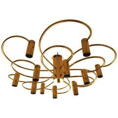 Honsel Two-Tier Flush Mount Brass Spiral Chandelier Twelve-Light