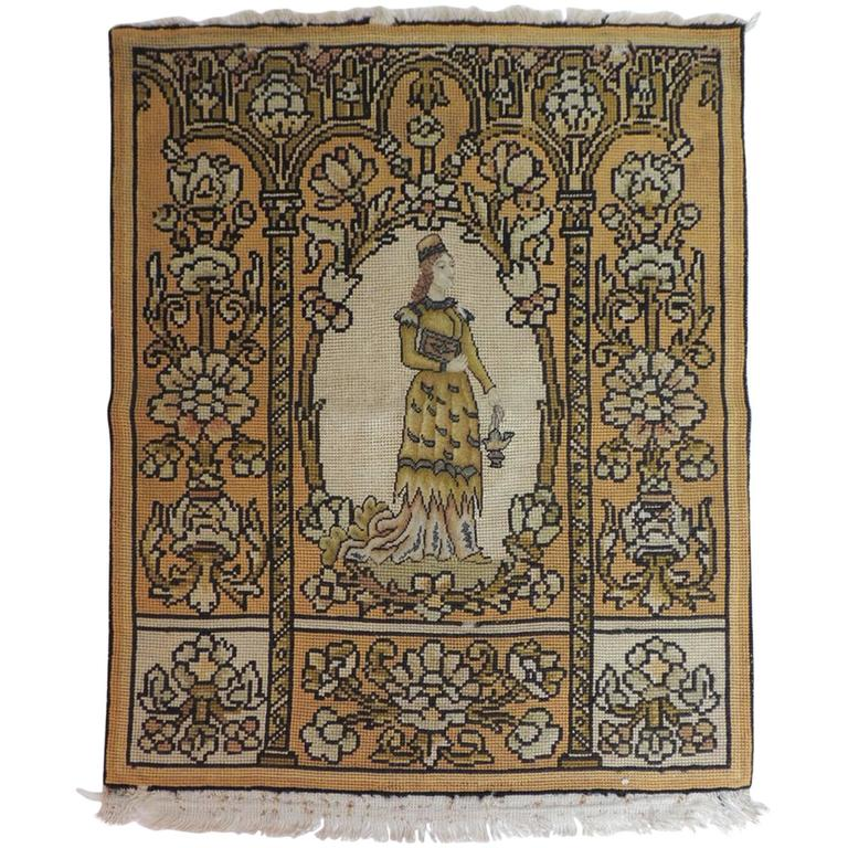 19th Century Medieval Theme Yellow and Gold Tapestry For Sale