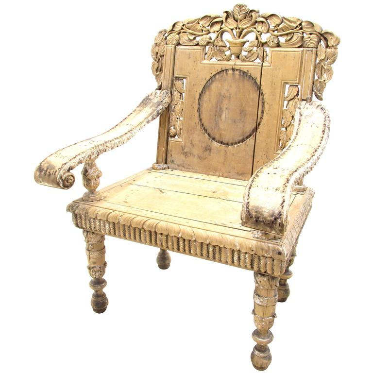Antique Weathered India Throne Chair For Sale