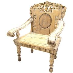 Antique Weathered India Throne Chair