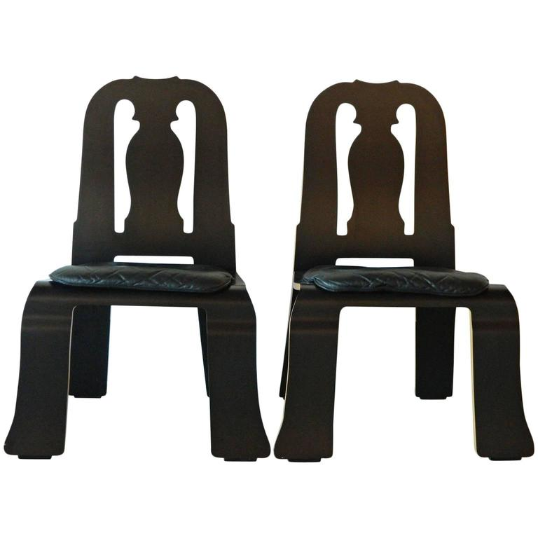 Pair Of Queen Anne Chairs By Robert Venturi For Knoll For Sale
