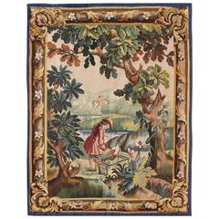 Antique French Aubusson Tapestry with Woodland Scene Surrounded by Floral Border