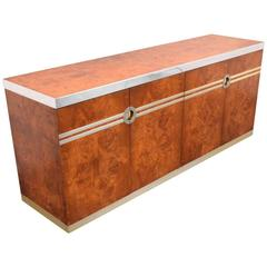 Pierre Cardin Burl Wood and Chrome and Brass Credenza, Signed