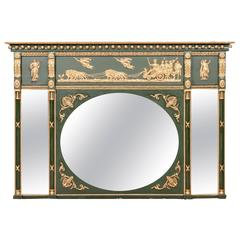 Early 19th Century Regency Vert De Gris and Giltwood Overmantle Mirror