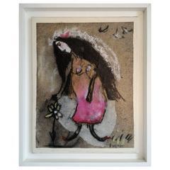 French Artist Elisabeth Brainos Original Signed Painting, 2005, France
