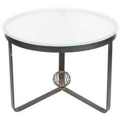 Mid-Century Steel and Glass Round Low Table