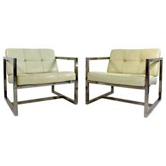 Cube Armchairs Designed by Milo Baughman in Leather