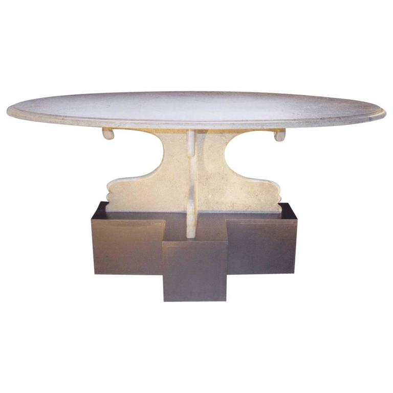 Slate And Glass Coffee Table For Sale: Oval Brasilia Green Slate Coffee Table For Sale At 1stdibs