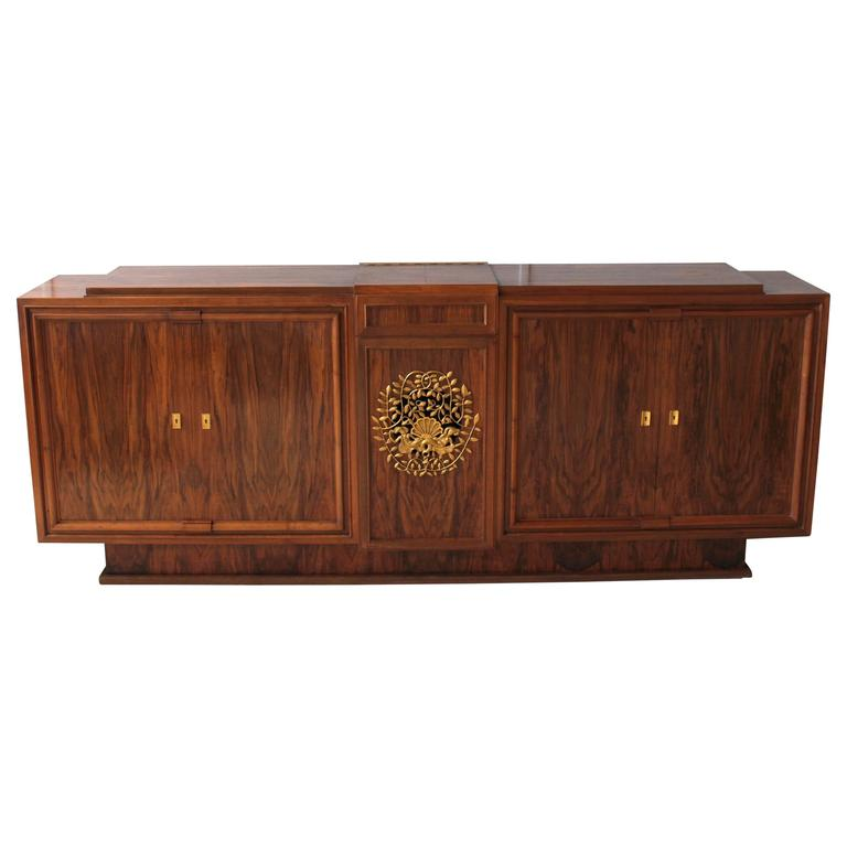 Fine French Art Deco Walnut Music-Stereo Cabinet or Sideboard by Jules Leleu