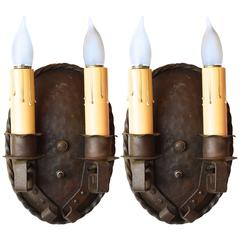 Gothic / Arts & Crafts Style Two Candle Sconces