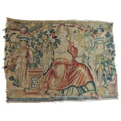 18th Century Aubusson Tapestry Panel of Goddess in a Red Cape