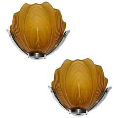 Large Matching Pair of Art Deco English Cinema Wall Lights Sconces