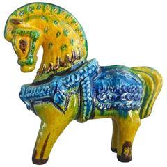 Antique Handmade Hand Glazed Horse Sculpture Brilliant Colors