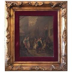 Antique Tavern Scene Oil Painting