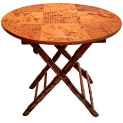 1950s Campaing Style Bamboo and Rattan Round Top Folding Table