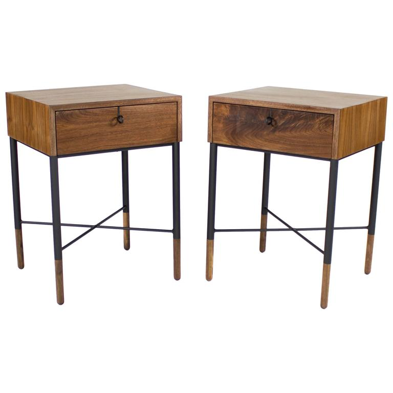 Phillip Walnut Nightstand and Side Table  1